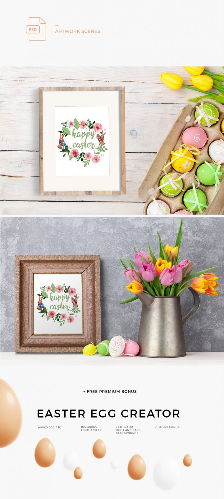 Easter Scene creator and easter egg mockup